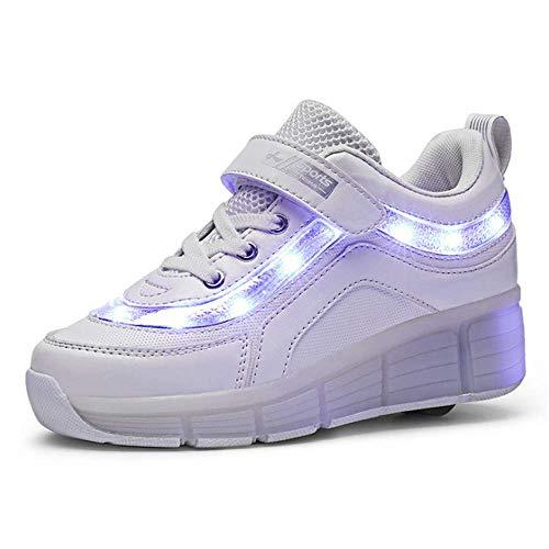 IDE Play USB aufladbare Schuhe Roller Schuhe Mädchen Roller Skate Schuhe Junge Kinder LED beleuchtet Rad Schuhe Roller-Turnschuhe Rad Kinder, Single Wheel White,33
