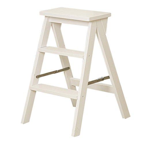 KLEDDP 3-stufig klappbar massivholz stufenhocker dual-use kreative treppenleiter Stuhl Hause multifunktions Indoor beweglicher Schritt hocker 42x48x64cm Step Stool (Color : White)
