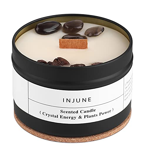 Duftkerze Bio Soja Kerze mit Obsidian und Kaffeebohne, Handgemachtes Geschenkkerze Holzdocht Brennen 50 Stunden 200g (Kaffee)