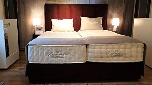 Die Marke Royal Sleeper ist bekannt für hochwertigen Boxspringbetten. Nicht von ungefähr sind die Betten Bestandteil von vielen hochwertigen Luxoshotels. Hohlen Sie sich das Schlaferlebnis aus dem Urlaub nach Hause. Das Boxspringbett Baldur wurd im Jahr 2018 auf der internationalen Möbel-Messe (IMM) vorgestellt. Die Oberklassematratze mit einer Höhe von 25 cm passt sich an Ihre Körperkontur ideal an und entlastet Ihren Körper für einen erhohlsamen Schlaf. Liegefläche: 180x200 cm Farben: diverse Farben und Stoffe erhähtlich - Aussgestellt in rot Stellmaß: L 213 cm x B 180 cm x H 68 cm Höhe Kopfteil: 140 cm Betthöhe mit Matratzen: 68 cm - sehr angenehme Komforthöhe für den Ein- und Ausstieg Matratzen: Zwei MERSEY MAtratzen - 90x200 cm Matratzen mit einer höhe von jeweils 25 cm MERSEY Matratzen bestehen zu 100% aus Naturmaterialien und werden komplett in Handarbeit gefertigt. 3 Lagen Taschenfederkernen ergänz mit Lagen aus Naturlatex und Baumwolle an beiden Seiten. Die Matratze hat eine wärmende Winterseite mit einer Füllung aus Schurwolle und eine kühlende Sommerseite mit einer Füllung aus Seide.