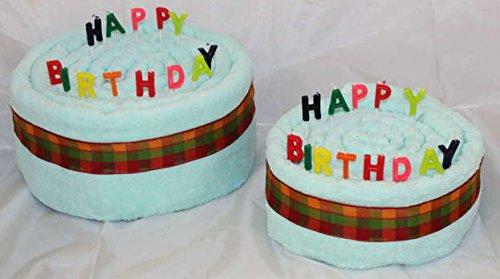 Handtuchtorte / Geburtstagstorte Happy Birthday, Farbe Mint, Gr. M
