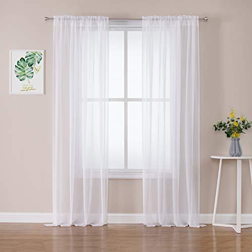 MIULEE 2er Set Sheer Voile Vorhang Stangedurchzug Transparente Gardine Polyester Fensterschal Transparent Wohnzimmer Luftig Dekoschal für Schlafzimmer 140 X 260cm(B x H),Rod Pocket Weiß