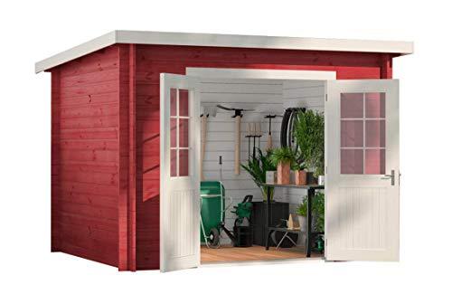 CARLSSON Alpholz Gartenhaus Maria aus Massiv-Holz   Gerätehaus mit 28 mm Wandstärke   Garten Holzhaus inklusive Montagematerial   Geräteschuppen Größe: 300 x 250 cm   Pultdach