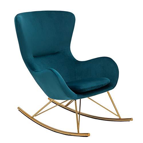 Invicta Interior Design Schaukelstuhl Scandinavia Swing türkis Samt Gold Schaukelsessel Sessel Stuhl Relaxsessel