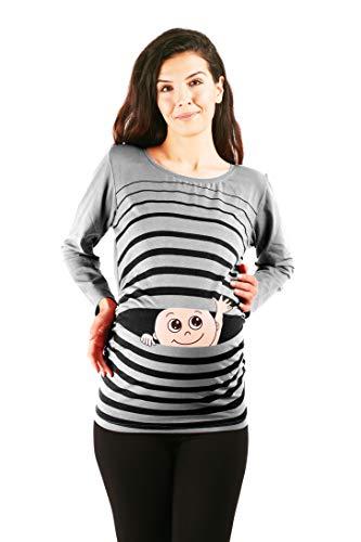 Winke Winke Baby - Lustige witzige süße Umstandsmode gestreiftes Umstandsshirt mit Motiv für die Schwangerschaft Schwangerschaftsshirt, Langarm (Grau, Medium)