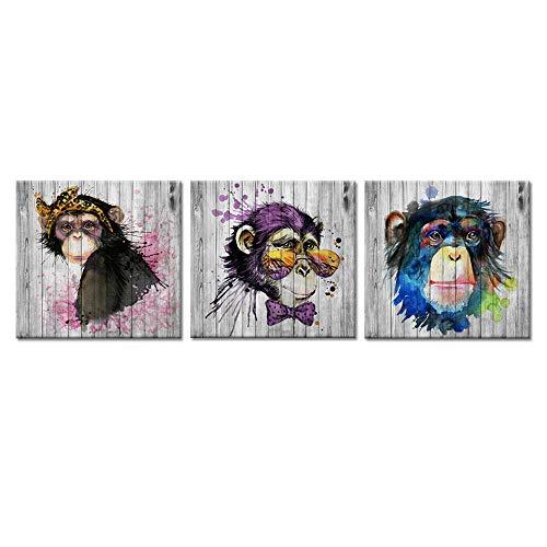 RomantiassLu 3 Stück lustige Tierbilder Leinwand Wandkunst Aquarell AFFE Schimpansen Gorilla mit Sonnenbrille Pop Art Malerei auf Leinwand Rahmenlos