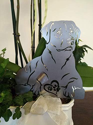 Gartendeko Fockbek Metallfigur Gartenstecker Figur Labrador Hund Höhe ca. 30 cm Metall Rost Gartenfigur