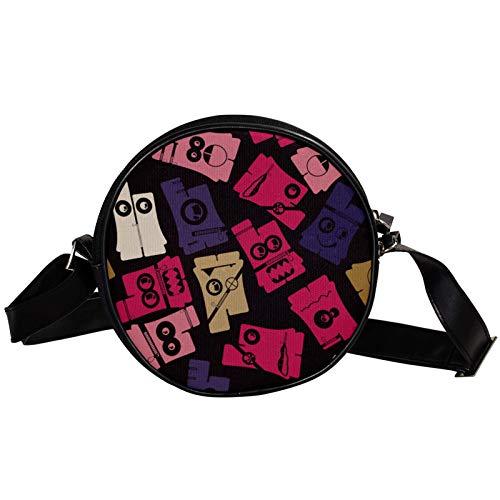 Runde Crossbody Tasche Kleine Handtasche Damen Mode Schultertaschen Messenger Bag Canvas Tasche Hüfttasche Zubehör für Frauen - Lustiges Vintage Hosen Muster