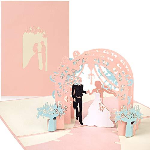 PaperCrush Pop-Up Hochzeitskarte Brautpaar (Rosa) - Besondere 3D-Karte zur Hochzeit, Glückwunschkarte zur Trauung - Handgemachtes Hochzeitsbillet inkl. Umschlag