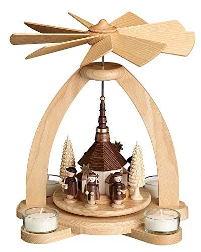 Volkskunstwerkstatt Unger Tischpyramide - Teelichtpyramide mit Seiffener Kirche - Echt Erzgebirge® 1810