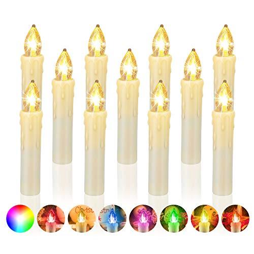 20 er LED Kerzen Christbaumkerzen mit Fernbedienung und AAA kku Weihnachts Kerzen Kabellos Flammenlose Lichterkette Kerzen für Weihnachtsbaum Weihnachtsdeko Feiertag [Energieklasse A++]