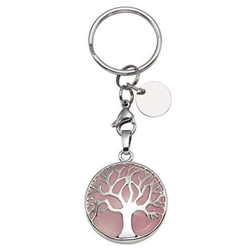 CrystalTears Schlüsselanhänger Natürlich Edelstein Lebensbaum Anhänger Chakra Heilsteine Reiki Schlüsselbund Keychain Dekoration Rosenquarz