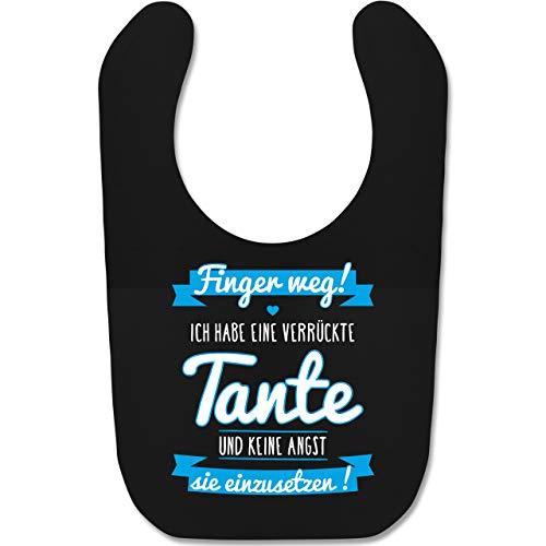 Shirtracer Sprüche Baby - Ich habe eine verrückte Tante Blau - Unisize - Schwarz - geschenk zur taufe junge - BZ12 - Baby Lätzchen Baumwolle
