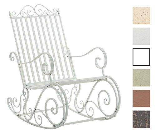 CLP Eisen-Schaukelstuhl SMILLA im Landhausstil I Schwingstuhl mit hoher Rückenlehne I erhältlich Weiß