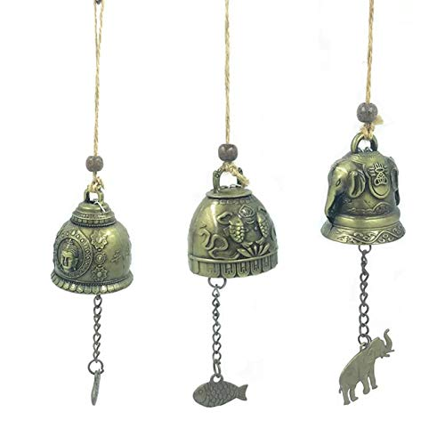 WHURGO Metall Vintage Glocke 3 Stück Chinesische Glocke Bronze Glocken Chinesische Windspiel Buddhistische Dekoration Kleine Vintage Glocke for Door Wall Car Hanging Decoration Ornament Craft
