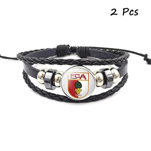 Lorh's store Retro Bundesliga Fußball Club Abzeichen Perlen gewebt Lederarmband Fußball Sport Armband für Fans 2 Pcs (Augsburg)