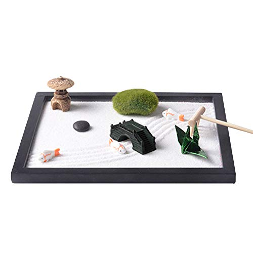 Zen Garten Set, Zen Sand Meditations-Ornamente, Mini Meditation Rock und Sand Garden Holzsockel, Buddha, weißer Sand, chinesisches Ornament für Entspannung Meditation (574)