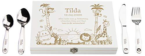 LAUBLUST Kinderbesteck mit Gravur - inkl. Personalisierte Geschenkbox aus Holz - Dschungel Motiv | Esslernbesteck Edelstahl, 4-teilig - Geschenk mit Namen für Kinder - Erinnerung an Baby & Kinderzeit