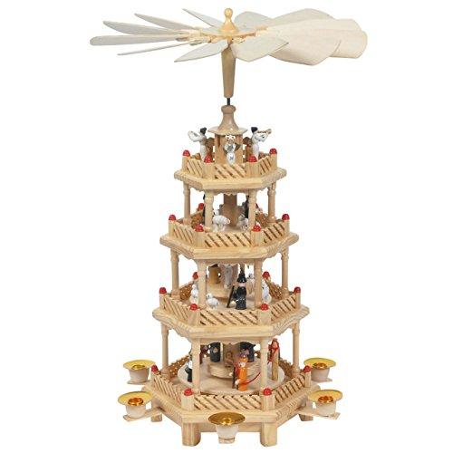 Große Weihnachts-Pyramide 4 Motive in 4 Etagen, H: 43 cm, Natur, handbemalt im Erzgebirgestil
