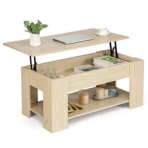 COSTWAY Couchtisch höhenverstellbar, Sofatisch mit Ablagefach, Beistelltisch aus Holz, Kaffeetisch Teetisch für Wohnzimmer Balkon Flur (Natur)
