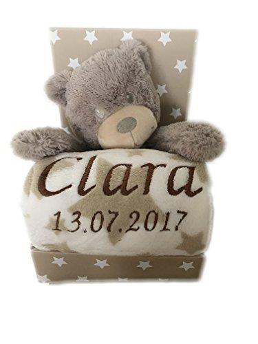 Babydecke mit Name & Geburtsdatum bestickt inkl. Plüsch Stofftier - Geschenk Taufe Geburt (Beige/Weiss - TEDDYBÄR)