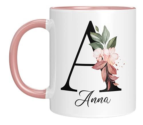 Personalisierte Tasse - 'Namens-Tasse mit Blumen Motiv' - mit Ihrem Anfangsbuchstaben und Namen - personalisiert - Geburtstag - Kaffeetasse - beidseitig bedruckt - Geschenke für Frauen (Rosa)