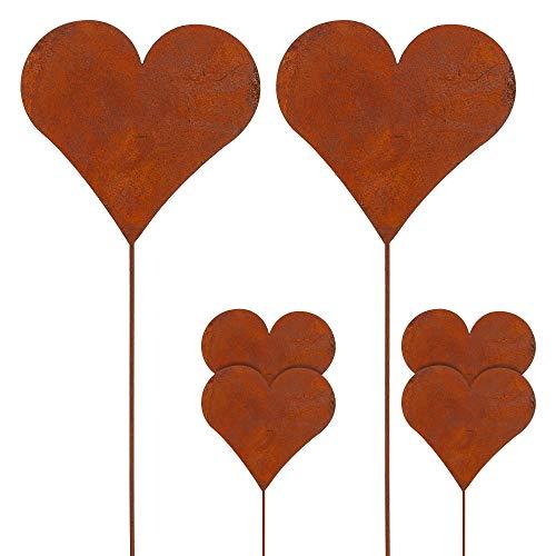 Gartenstecker Rusty 6er Set Herzmotiv im Rost-Design H 35 cm aus Zink Gartendekoration (1 x 6er Set Gartenstecker Herz)