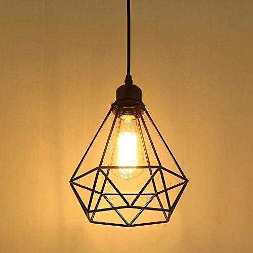 Vintage Pendelleuchte Hängelampe Käfig Hängende Lampe, E27 Lampen fassungstyp, Retro Lampenschirm Licht für Küche,Stab,Wohnzimmer