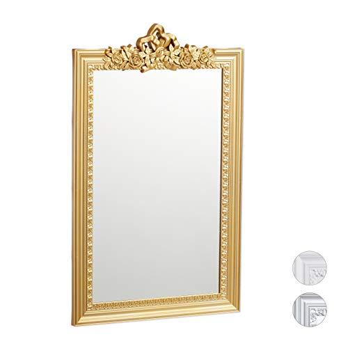 Relaxdays Barock Spiegel, Zierrahmen Antik Barock Design, Wandspiegel zum Aufhängen, Flur & Wohnzimmer, Nostalgie, Gold