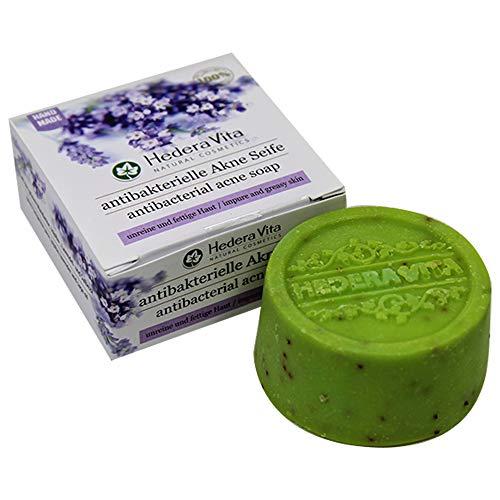 Hedera Vita antibakterielle Akne Seife | für unreine und fettige Haut | bekämpft Akne, Pickel und Mitesser | HandMade & Swiss Quality, 80gr