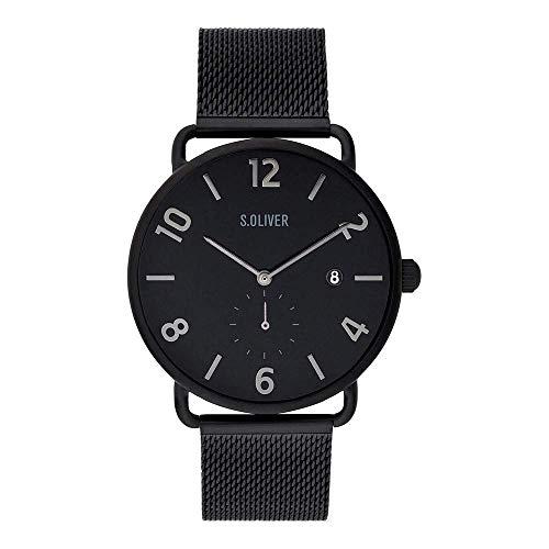 s.Oliver Herren Analog Quarz Uhr mit massives Edelstahl Armband SO-3717-MQ
