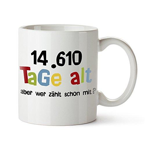 Casa Vivente Tasse mit Aufdruck – Alter in Tagen – Zum 40. Geburtstag – Kaffeebecher aus Keramik – Farbe: Weiß – Geschenkideen für Männer und Frauen – Füllmenge: 300 ml