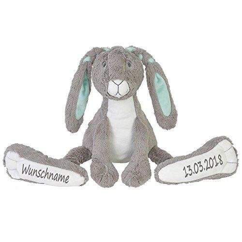Elefantasie Stofftier Hase mit großen Füßchen mit Namen und Geburtsdatum personalisiert Geschenk grau 31cm
