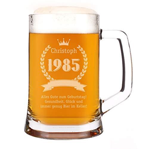 Herz & Heim® Bierkrug zum Geburtstag mit Gravur des Namens und des Geburtsjahr und Glückwünschen