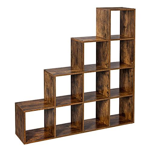 VASAGLE Treppenregal, Bücherregal mit 10 Würfeln, Leiterregal, Würfelregal, freistehendes Regal, Raumteiler, für Büro, Wohnzimmer, Schlafzimmer, Vintage, dunkelbraun LBC10BX