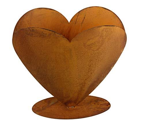 Herz zum Bepflanzen Rost Gartendeko Edelrost 40 x 40cm (Runde Bodenplatte)