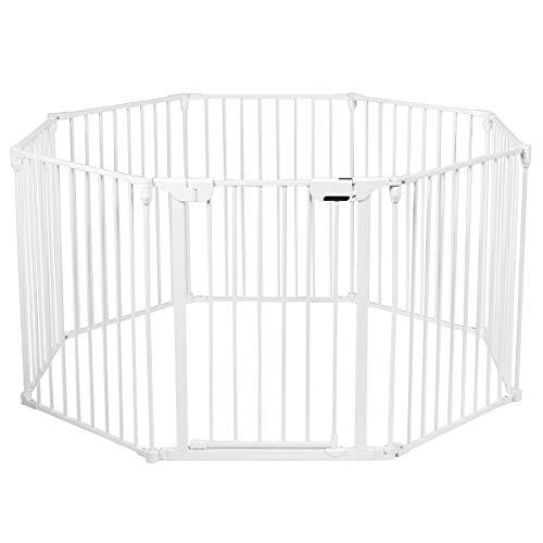 COSTWAY Baby Kaminschutzgitter klappbar, Laufgitter mit Sicherheitstür, Ofenschutzgitter inkl. Wandhalterung, Konfigurationsgitter aus Metall, Absperrgitter (Weiß, 8 Elemente)