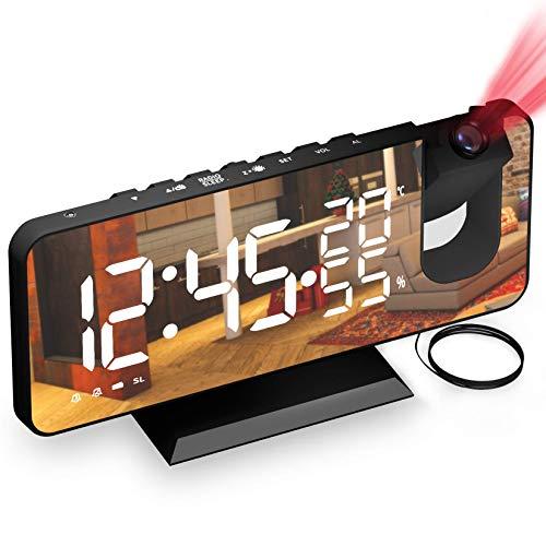 Wecker mit Projektion Dycsin Projektionswecker mit FM-Radio, 7' LED Spiegelbildschirm, 4 Helligkeiten, Dual Alarm mit USB Anschluss, Ultraklarer Raidowecker für das Home Office, Kinderzimmer