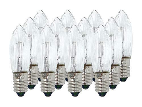 Selldorado® 12 Stück Riffelkerze klar-weiß 34V 3W E10 Sockel, Spitzschaftkerze,Topkerze, Ersatzkerzen Schwibbogen, Pyramidenkerzen, Lichterkette