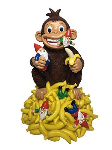 GlitZGlam Gartenzwerg mit Bananen und einem Affen - 27,9cm Grosse Zwergenfigur für Ihren Feengarten