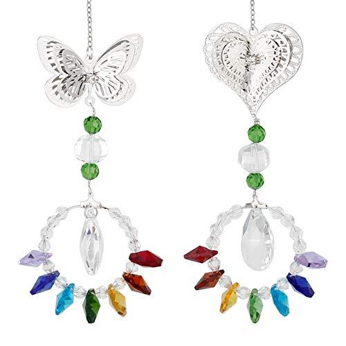 Gitua Kristall Sonnenfänger, 2 Stück Regenbogen Sonnenfänger Hängende Prismen Anhänger für Zuhause, Büro, Garten Dekoration(Schmetterling)