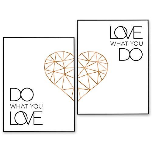POSTER-SET mit Spruch DO WHAT YOU LOVE 40x50 mit Herz in Rose-Gold - BILDER-SET XXL Typographie - WAND-BILD - STATEMENT Zitat Sprüche Schriftzug Liebe - WAND-DEKORATION schwarz weiß - WAND-DEKO