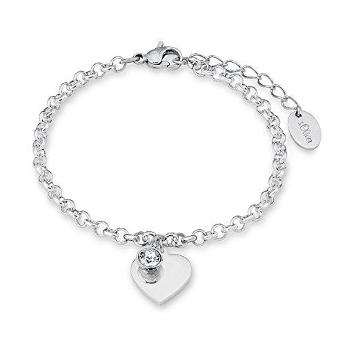 S.Oliver Damen Armband mit Herz-Anhänger Edelstahl mit Kristallen von Swarovski 17+3 cm inkl. Wunschgravur (silberfarben, Edelstahl)