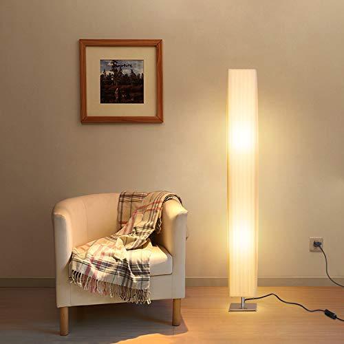Albrillo Design Stehlampe - Moderne Stehleuchte mit Tube Lampenschirm und Edelstahl Basis, 2 x E27 Fassung, Max. 60W, 120 cm Standlampe für Wohnzimmer, Schlafzimmer, Büro, Weiß