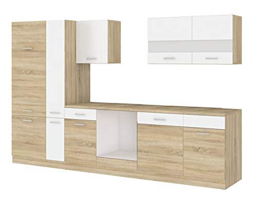 Küche CORA III 310 Küchenzeile Küchenblock Einbauküche Sonoma Eiche + Weiss