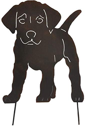 Super Idee Edelrost Hund mit den Steckern für den Boden zum Eindrehen Metall Roststecker Gartenstecker Rostoptik Rosttiere mit dem Bodenspieß Gartendeko Rostfiguren Gartenfiguren