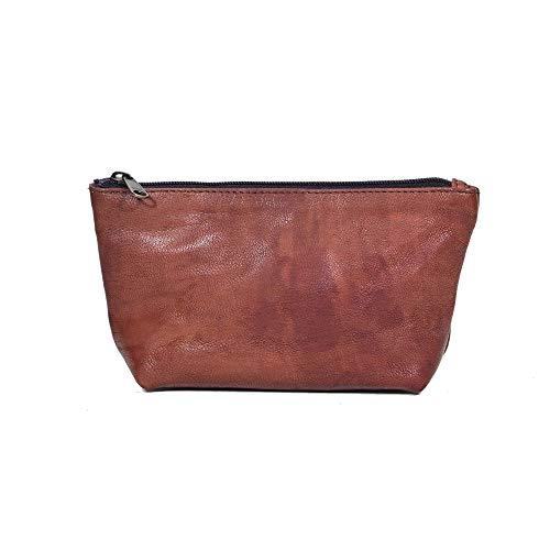 Rustler Fairlight Brown M   Echtes Leder   Handmade   Kosmetiktasche   feinstes Napa Leder   Ledertasche im Vintage Design   Last Minute Geschenk