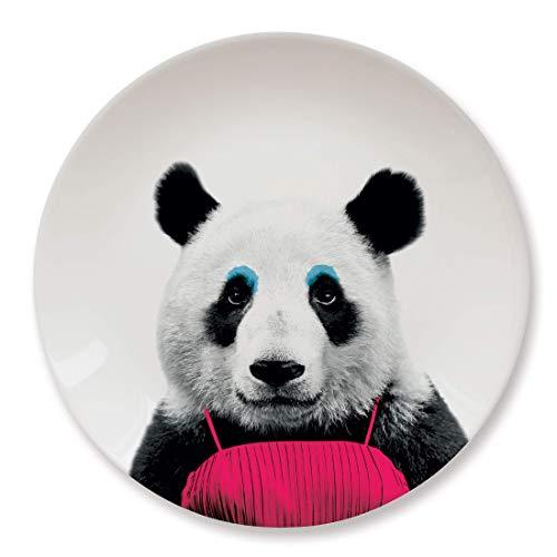 MUSTARD - Wild Dining Panda Dinner Plate I Keramik Teller I 100% Keramik I Runder Essteller I besonders I lustiger Speiseteller I Teller mit Tierprint I Geschenkidee für Studenten - Patricia Panda