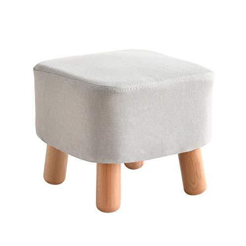 IBUYKE Polsterhocker, Fußhocker, Sofa hocker Stoff hocker mit abnehmbarem Leinenbezug 4 Beine gepolstert, für Wohnzimmer,Soft Sitzkissen aus Linen, Platz Hellgrau RF-BD020
