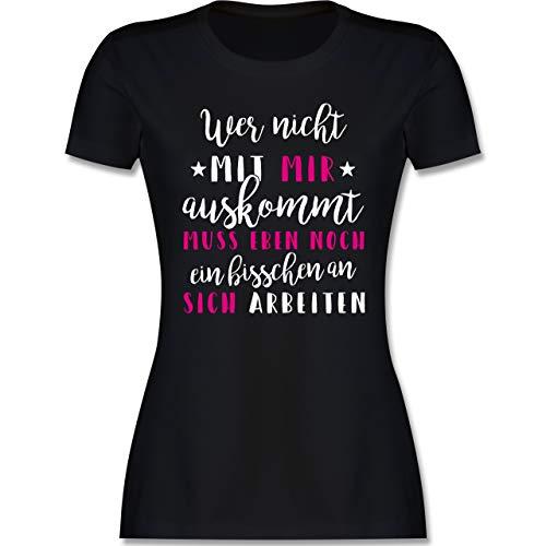 Sprüche - Wer mit Mir Nicht auskommt - rosa - L - Schwarz - lustige Tshirt du Kannst das so Machen - L191 - Tailliertes Tshirt für Damen und Frauen T-Shirt